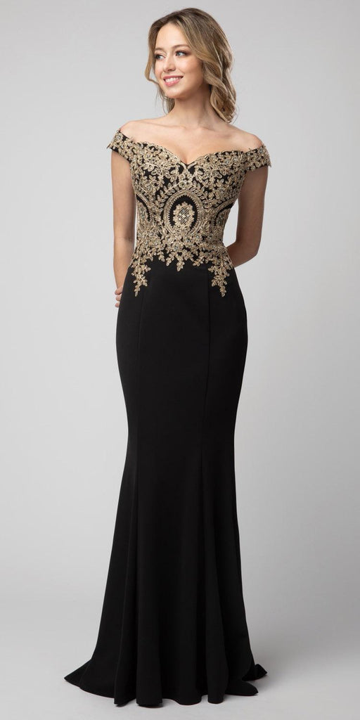 Off-Shoulder Black Appliqued Long Prom Dress