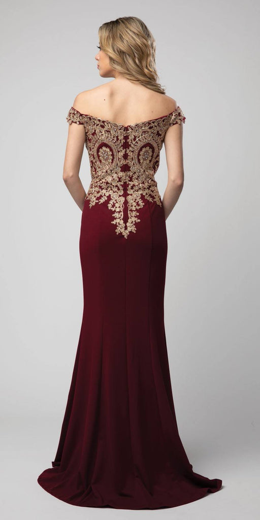 Off-Shoulder Burgundy Appliqued Long Prom Dress