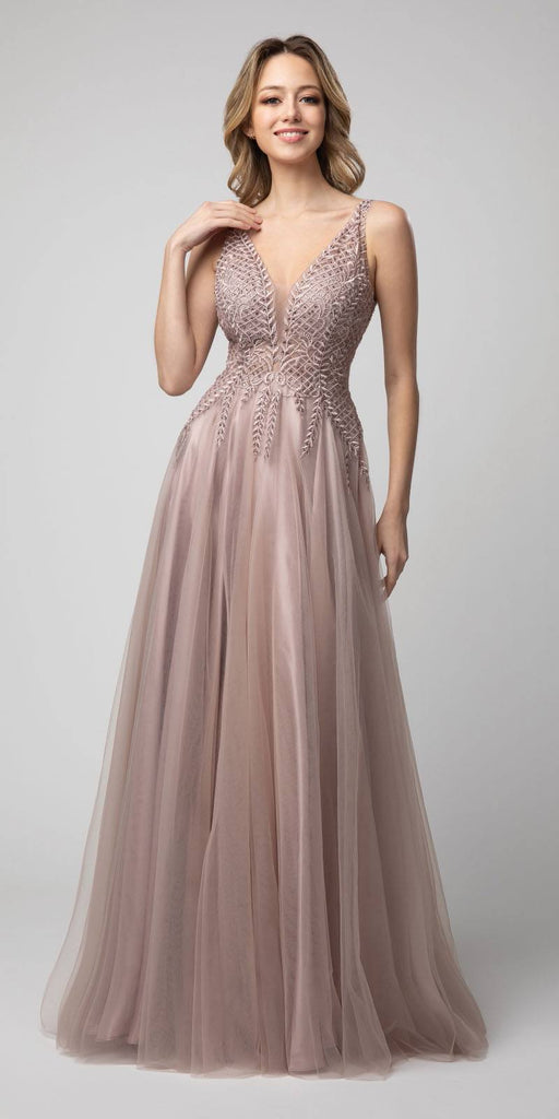 Embroidered Long Prom Dress V-Neck and Back Mauve