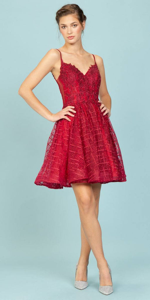 Burgundy Homecoming Short Dress with Open V-Back