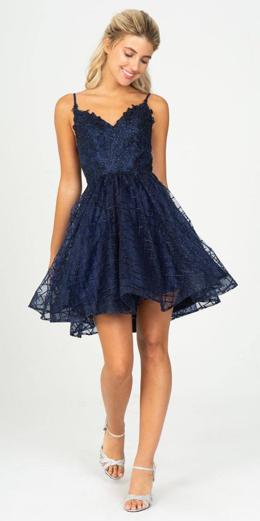 Navy Blue Homecoming Short Dress with Open V-Back