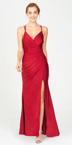 Eureka Fashion 9333 Burgundy Fit and Flare Evening Gown with Slit