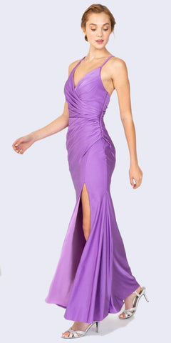 Eureka Fashion 9333 Victorian Lilac Fit and Flare Evening Gown with Slit