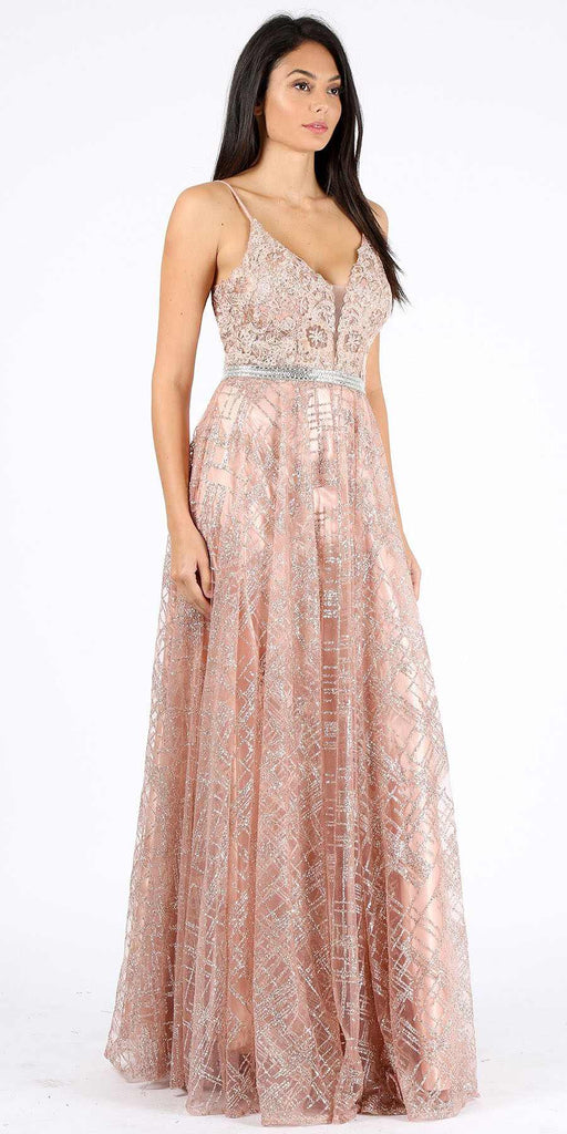 Rose Gold Glitter Long Prom Dress with Lace Applique Bodice