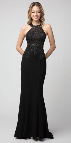 Black Halter High-Neck Long Prom Dress