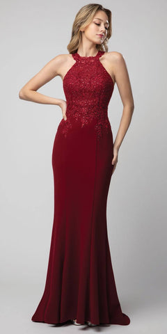 Burgundy Halter High-Neck Long Prom Dress