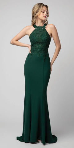 Emerald Green Halter High-Neck Long Prom Dress