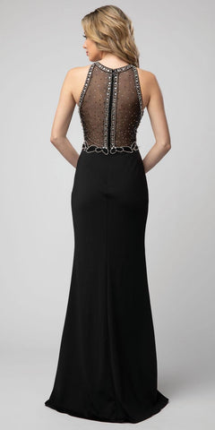 Black Illusion Beaded Halter Long Prom Dress with Slit