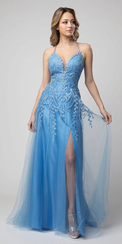 Lace-Up Back A-Line Long Prom Dress Blue with Slit
