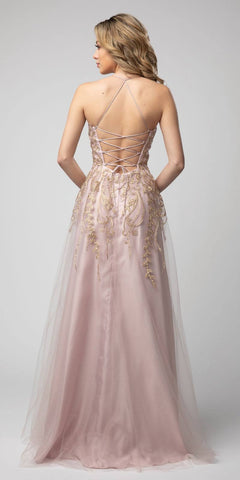 Lace-Up Back A-Line Long Prom Dress Mauve with Slit