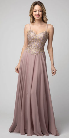 Embroidered Long Prom Dress Cut-Out Back Mauve