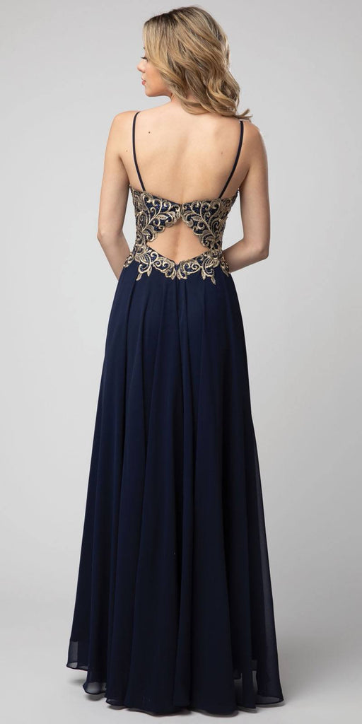 Embroidered Long Prom Dress Cut-Out Back Navy Blue