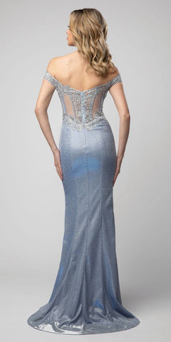 Metallic Blue Off-Shoulder Long Prom Dress with Slit
