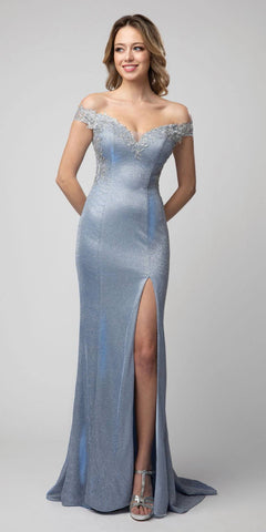 Long Fitted Sequin Gown Opal Blue Open Lace Up Back Leg Slit