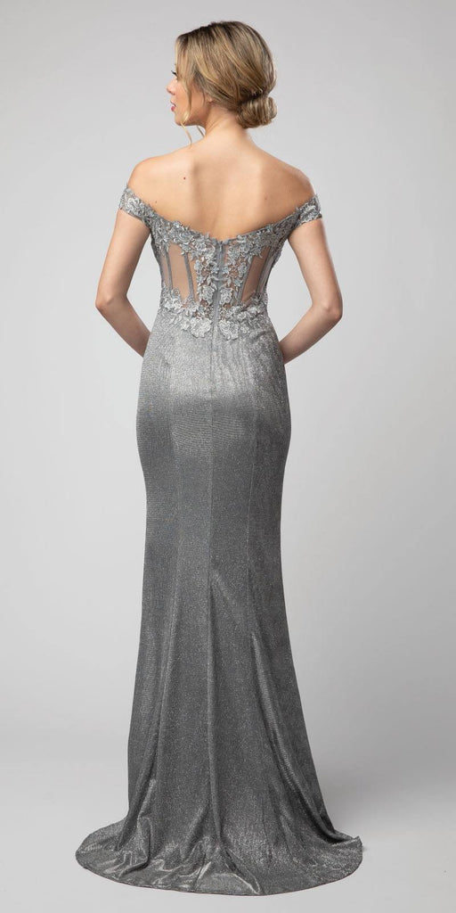 Metallic Gray Off-Shoulder Long Prom Dress with Slit