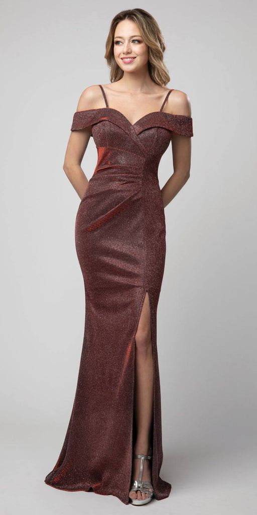 Cold-Shoulder Metallic Long Mermaid Prom Dress Burgundy