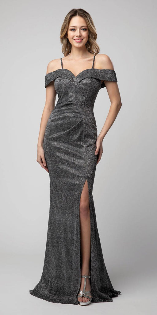 Cold-Shoulder Metallic Long Mermaid Prom Dress Dark Gray