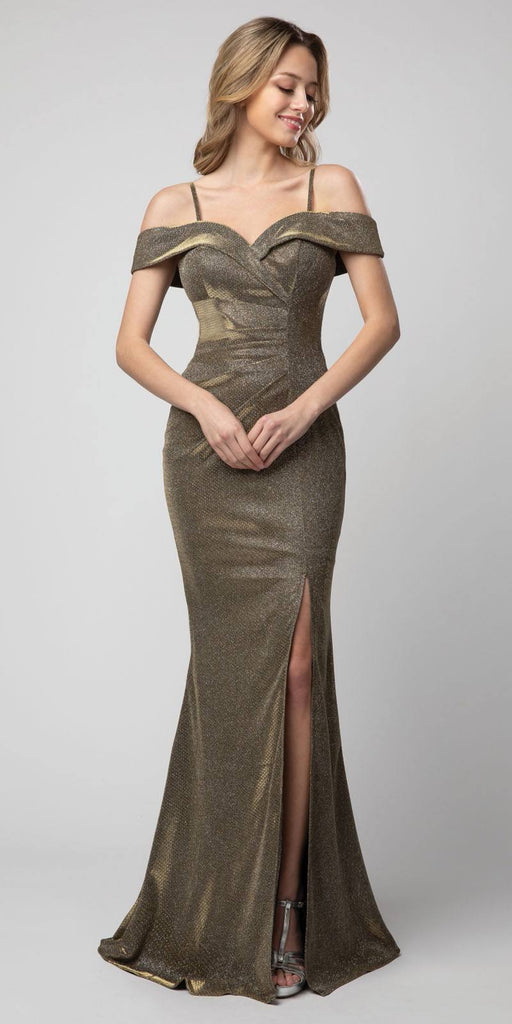 Cold-Shoulder Metallic Long Mermaid Prom Dress Metallic Olive