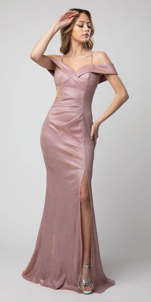 Cold-Shoulder Metallic Long Mermaid Prom Dress Rose