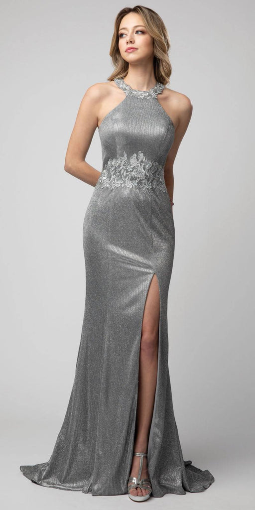 Halter Metallic Gray Long Prom Dress with Lace Applique