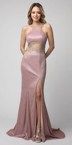 Halter Metallic Rose Long Prom Dress with Lace Applique