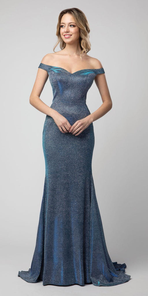 Metallic Blue Off-Shoulder Mermaid Long Prom Dress