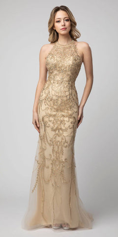 Cut-Out Back Embroidered Long Prom Dress Gold