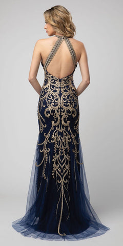 Cut-Out Back Embroidered Long Prom Dress Navy Blue