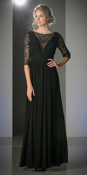 Chiffon Mother of Bride Long Dress Black Lace Mid Sleeves