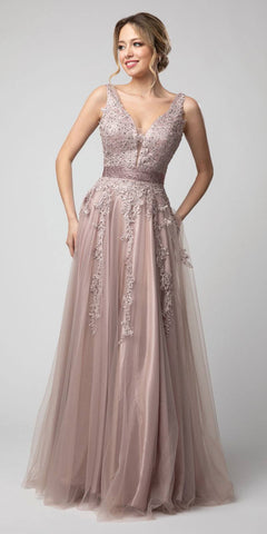 Appliqued V-Neck and Back Long Prom Dress Mauve