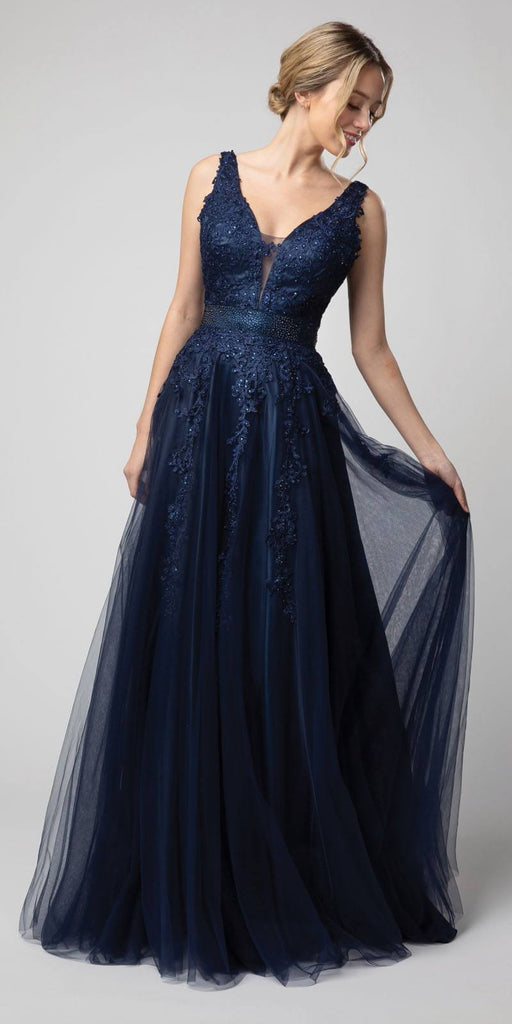 Appliqued V-Neck and Back Long Prom Dress Navy Blue