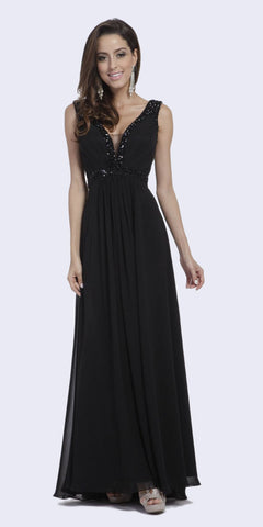 Full Length Strapless V Notch Black Chiffon Formal Dress