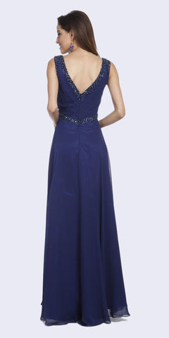 Embellished V-Neck and Back Long Formal Dress Navy Blue