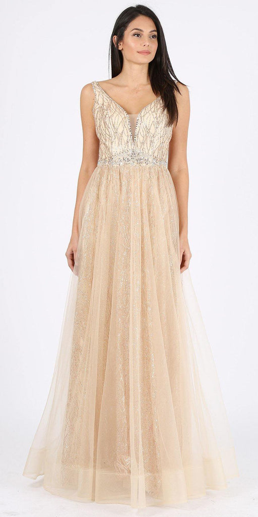 Champagne Embellished Long Prom Dress V-Neck and Back