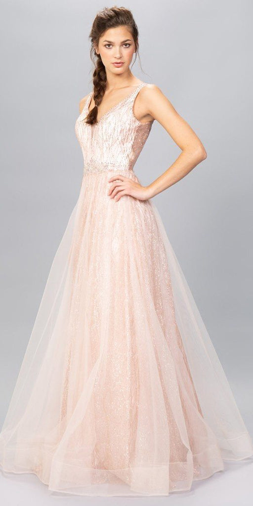 Rose Gold Embellished Long Prom Dress V-Neck and Back