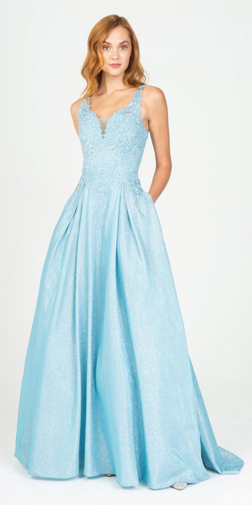 Eureka Fashion 9606 Ice Blue Shimmering Long Prom Dress Appliqued Bodice