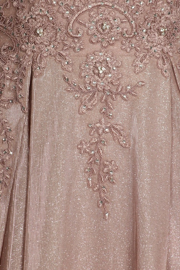 Eureka Fashion 9606 Mocha Shimmering Long Prom Dress Appliqued Bodice