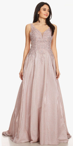 Long A-Line Tulle Prom Gown Blush Lace Beaded Bodice Criss Cross Back