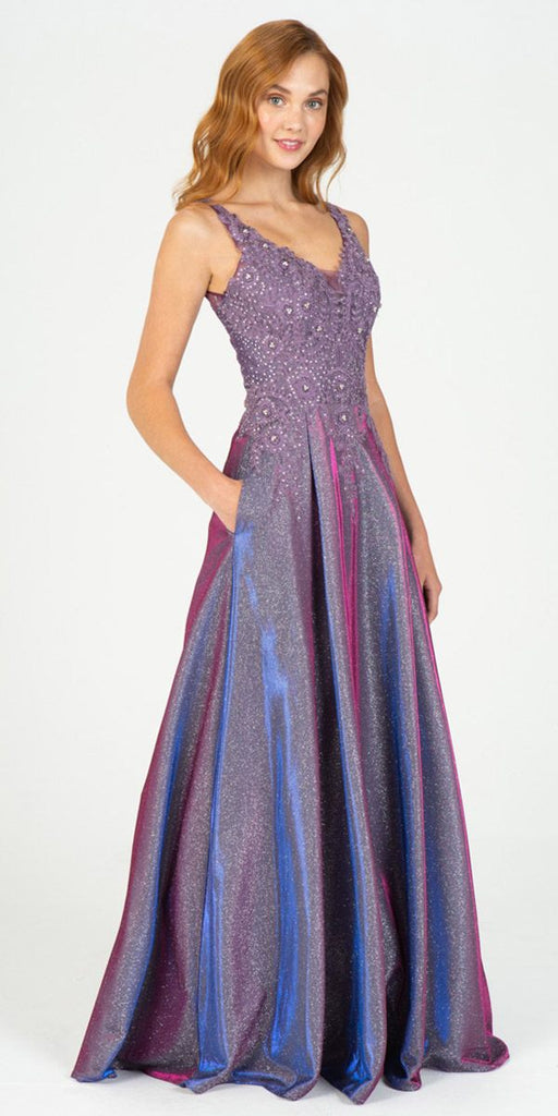Eureka Fashion 9606 Purple Shimmering Long Prom Dress Appliqued Bodice
