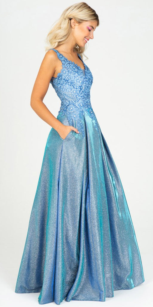 Eureka Fashion 9606 Steel Blue Shimmering Long Prom Dress Appliqued Bodice