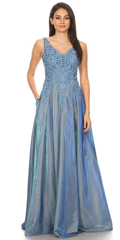 Steel Blue Shimmering Long Prom Dress Appliqued Bodice