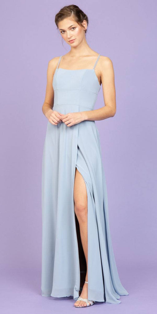 Long Faux-Wrap Formal Dress Dusty Blue
