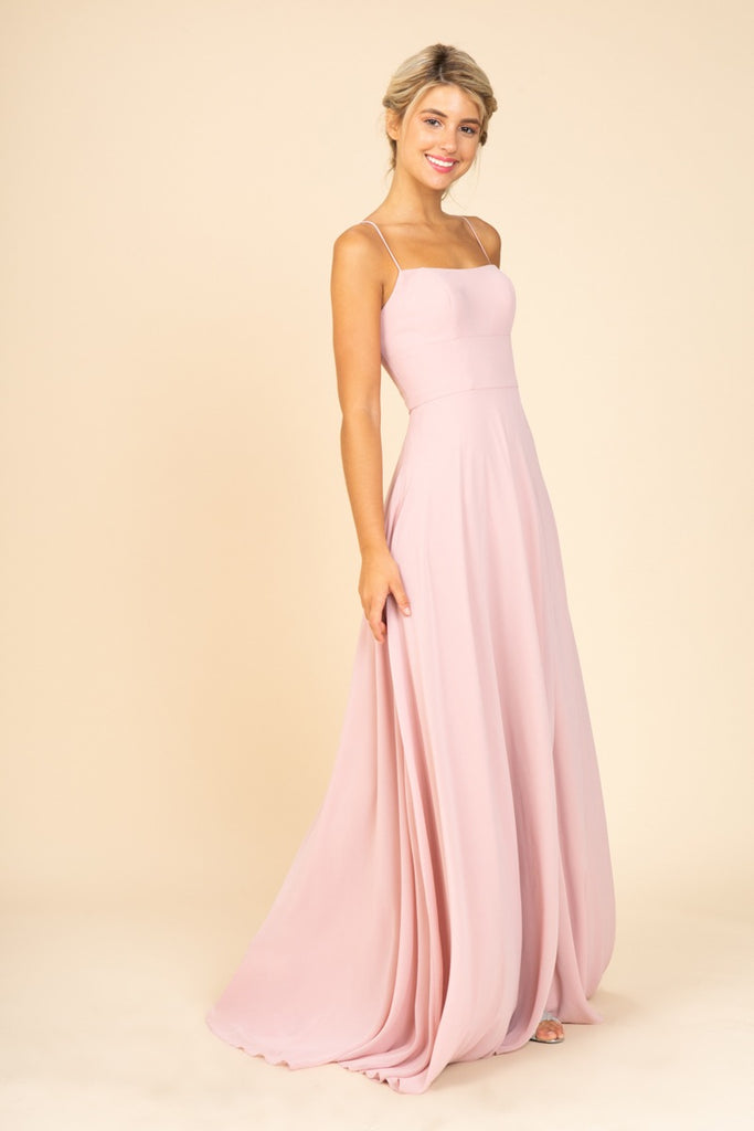 Long Faux-Wrap Formal Dress Dusty Rose