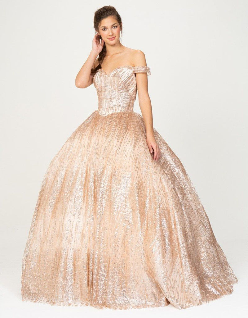 Off-Shoulder Glitter Prom Ball Gown Rose Gold