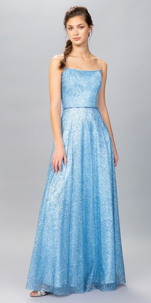 Bahama Blue A-Line Long Formal Dress with Spaghetti Strap