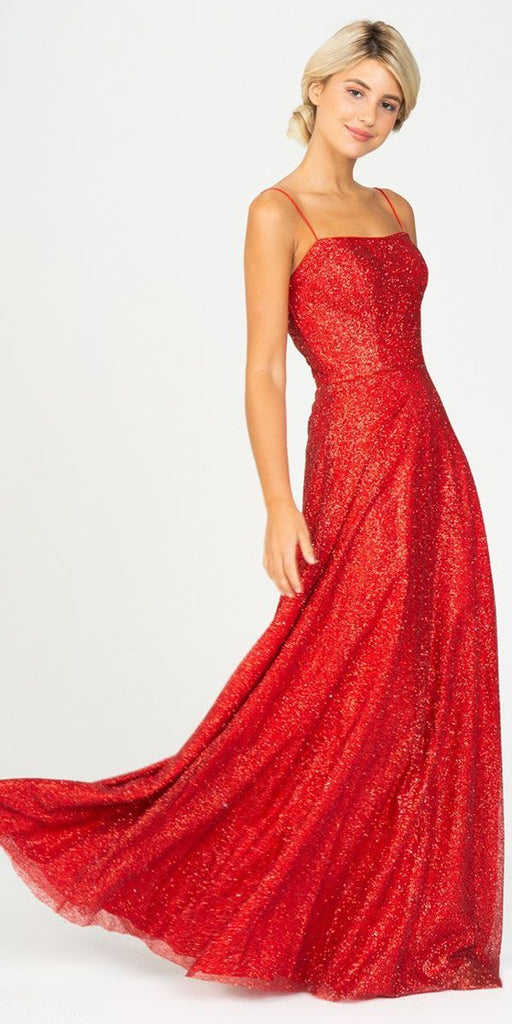 Red A-Line Long Formal Dress with Spaghetti Strap