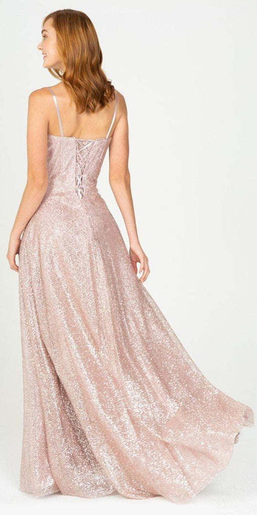 Rose Gold A-Line Long Formal Dress with Spaghetti Strap