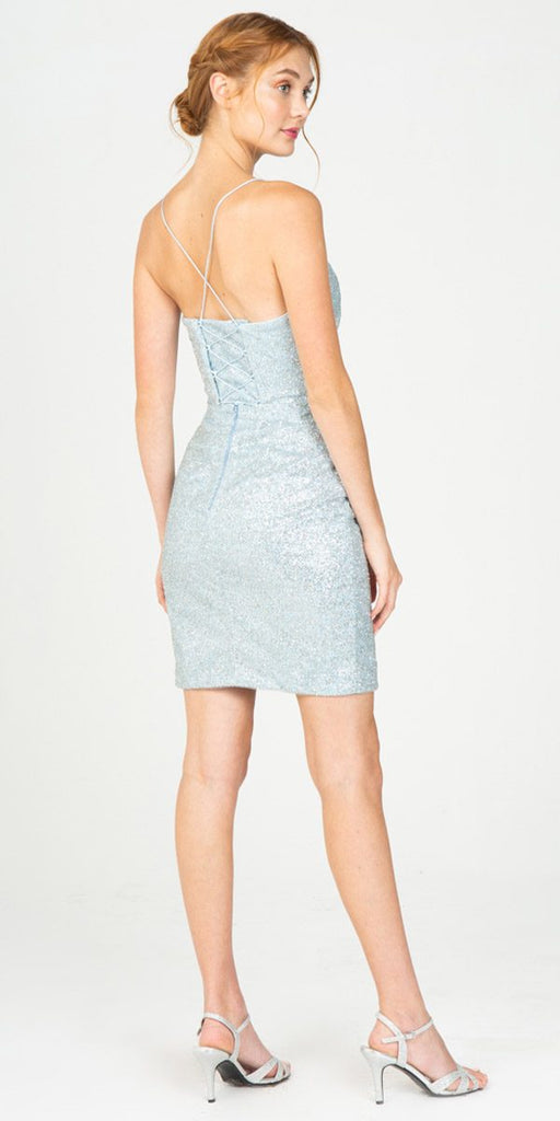 Ice Blue Fitted Shimmering Short Party Dress