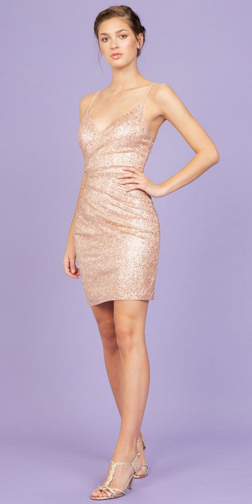 Rose Gold Fitted Shimmering Short Party Dress