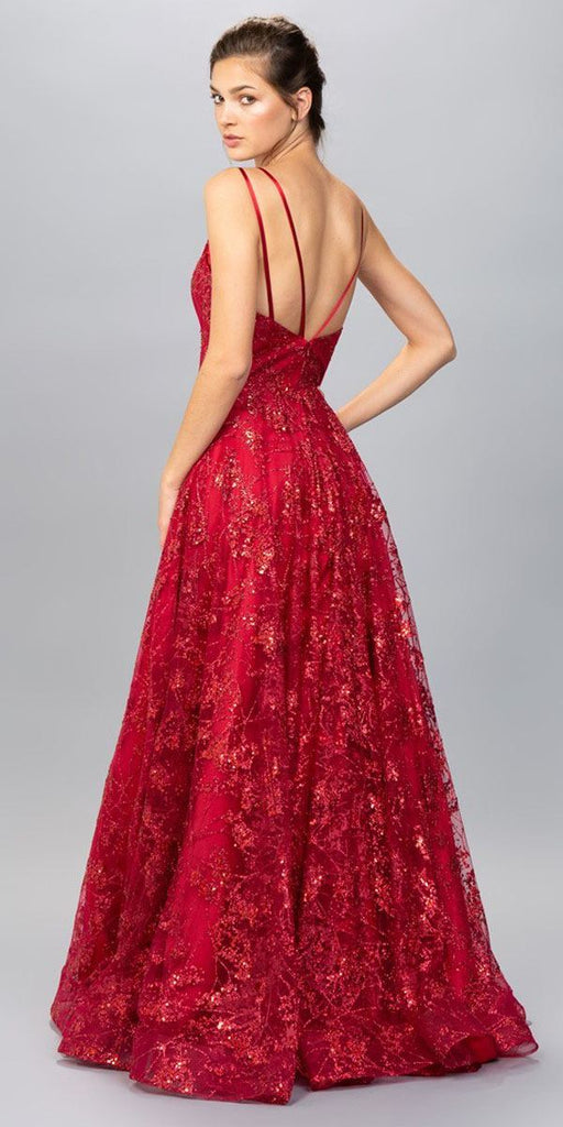 Double-Strap V-Neck Glitter Long Prom Dress Red